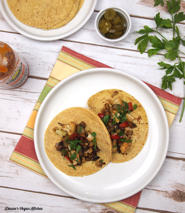 Mushroom Cauliflower Tacos from Healing the Vegan Way by Mark Reinfeld >> Dianne's Vegan Kitchen
