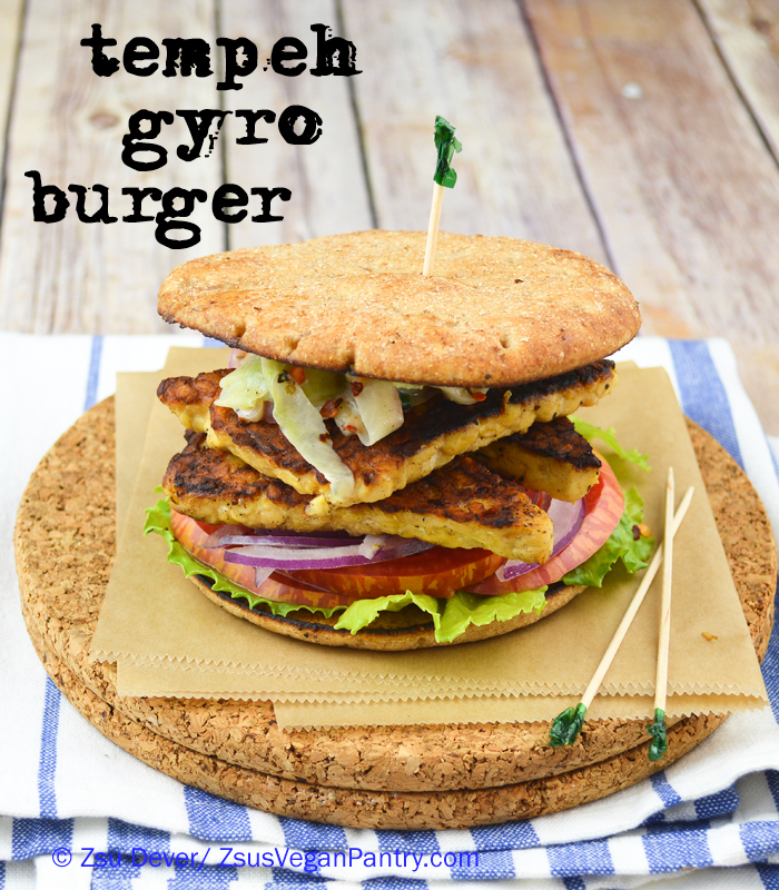 Zsu Dever's Gyro Tempeh Burger with Cucumber Tzaziki