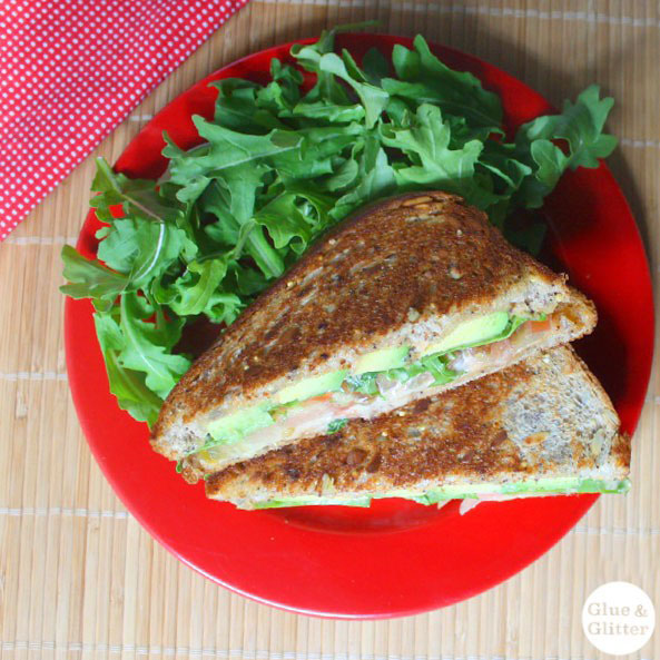 Glue and Glitter's Grilled Avocado Sandwich with Sriracha Mayo