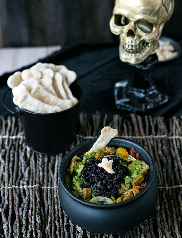 Swamp Monster Slow Cooker Jackfruit Gumbo from The Ghoulish Gourmet by Kathy Hester