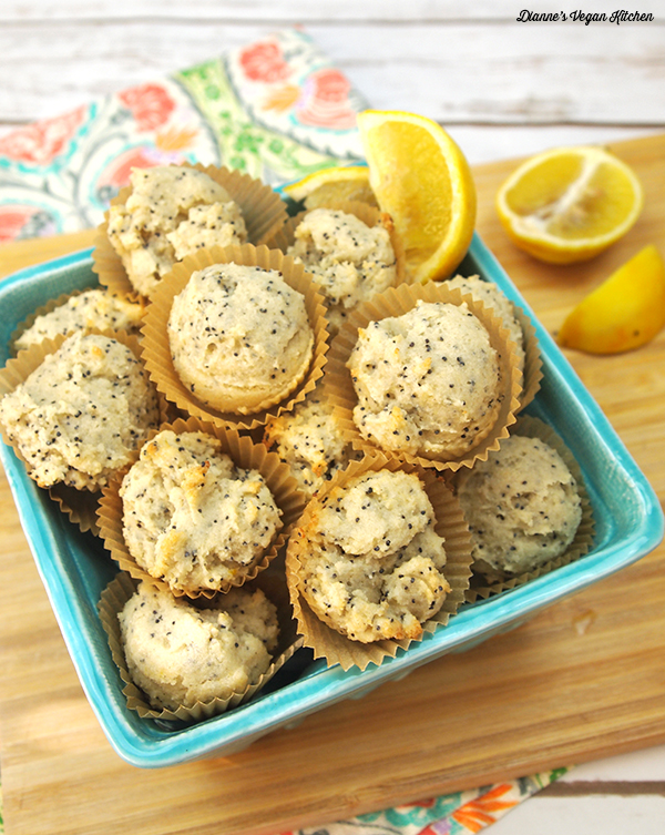 Lemon Poppy Seed Muffins from Aquafaba by Zsu Dever >> Dianne's Vegan Kitchen