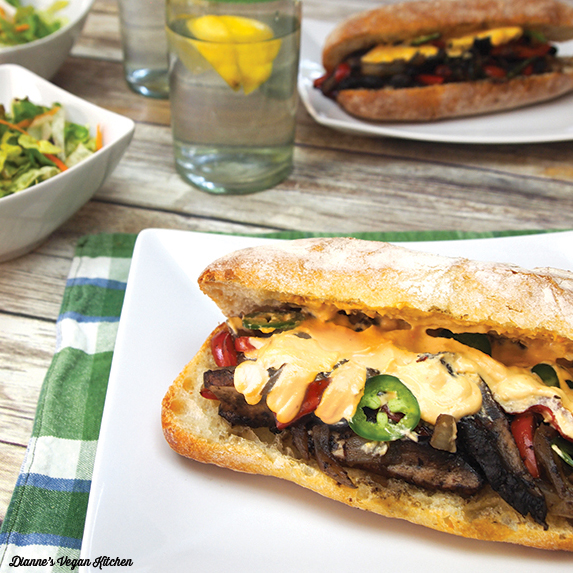 Vegan Portobello Cheesesteak Sandwiches