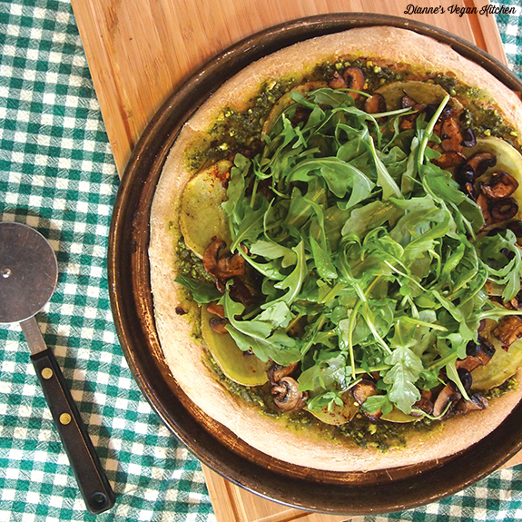 Peaceful Potato, Pesto, and Arugula Pizza