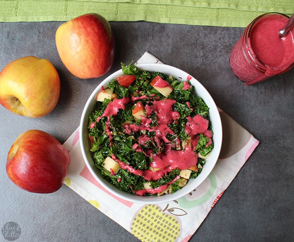 Glue and Glitter's Holiday Kale Salad with Apples, Walnuts, and Warm Ginger Cranberry Dressing