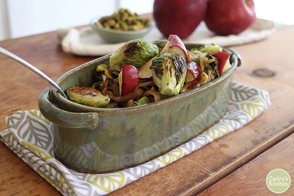 Cadry's Kitchen's Roasted Brussels Sprouts & Apples with Caramelized Onions