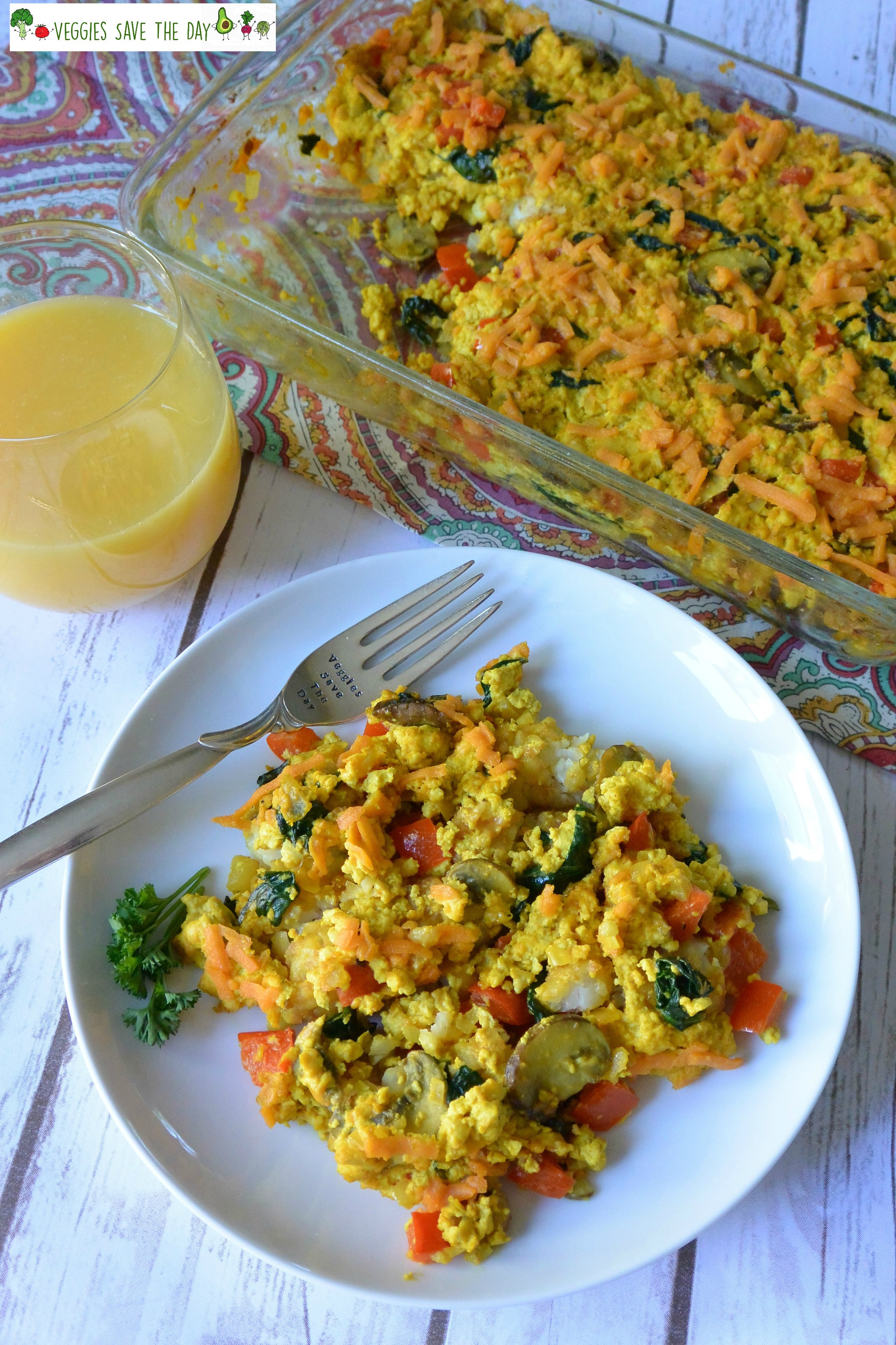 Veggies Save the Day's Tofu Scramble Casserole with Tater Tots