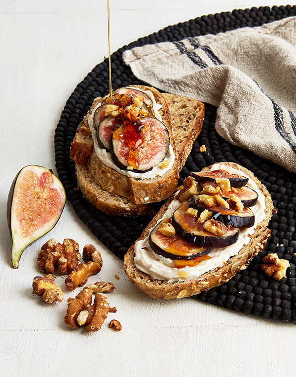 Fig, Walnut, and Vegan Honey Breakfast Tartine from Vegan 101 by Heather Bell and Jenny Engel. Photo by Kate Lewis.