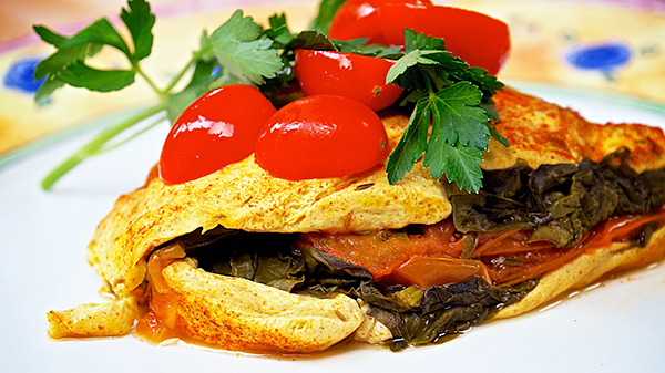 Spinach-Tomato Vegan Omelet from Laura Theodore's Vegan-Ease