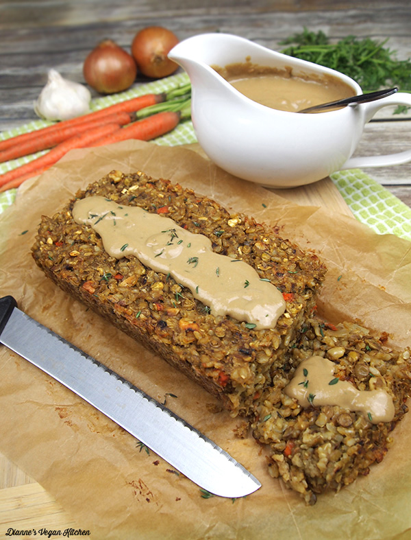 Vegan Lentil Loaf with Cashew Gravy