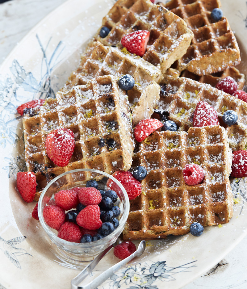 Gluten-Free Lemon Blueberry Belgian Waffles from Outrageous Oatmeals by Kathy Hester