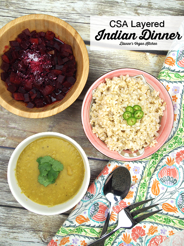 CSA Layered Indian Dinner >> Dianne's Vegan Kitchen