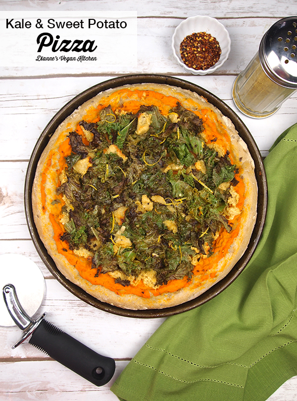 Vegan Kale and Sweet Potato Pizza >> Dianne's Vegan Kitchen
