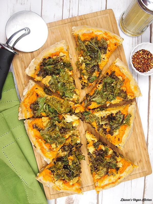 Vegan Kale and Sweet Potato Pizza >> Dianne's Vegan Kitchen