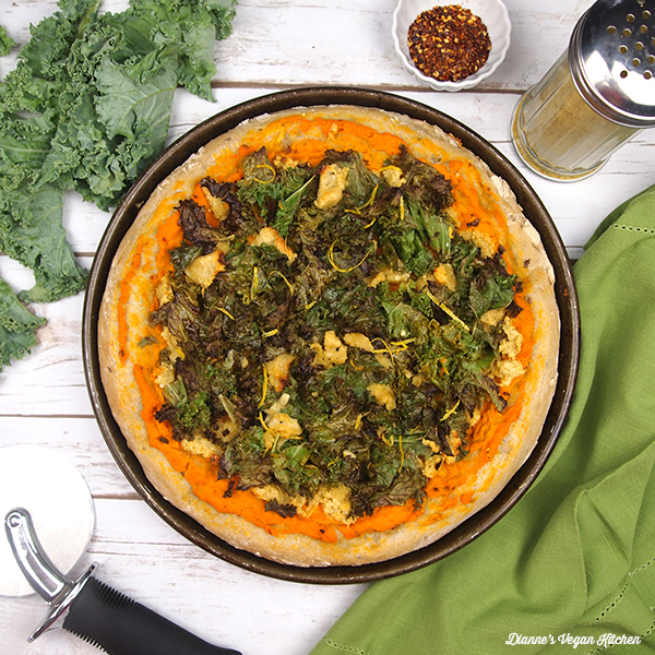 Vegan Kale and Sweet Potato Pizza