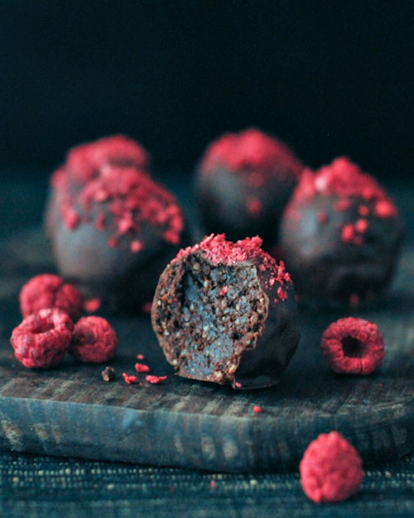 Spabettie's Raspberry Dusted Chocolate Fudge Brownie Truffles