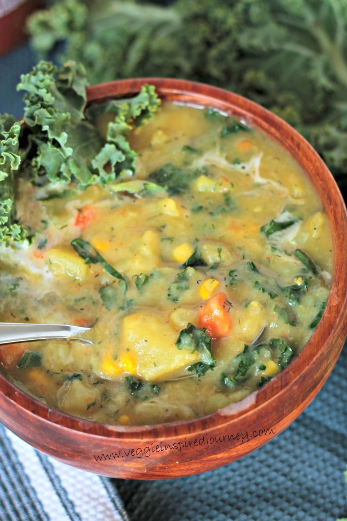 Veggie Inspired's Creamy Dairy Free Potato Soup with Kale