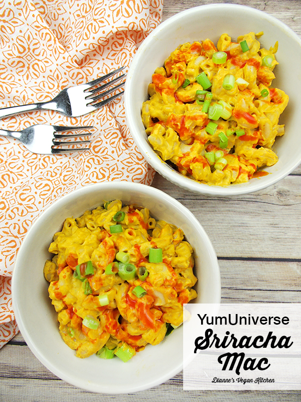 This vegan Sriracha Mac from YumUniverse From Pantry to Plate is comfort food at its finest. It is creamy, cheesy, spicy goodness – all packed into one little bowl.