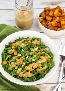Smoky Kale and Chickpeas with Miso Peanut Drizzle from Bold Flavored Vegan Cooking
