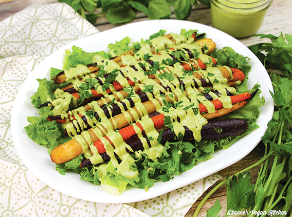 Roasted Carrots with Green Goddess Dressing