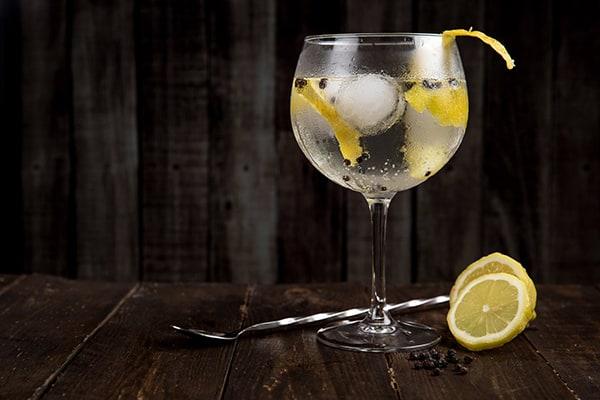 glass of vodka with lemon