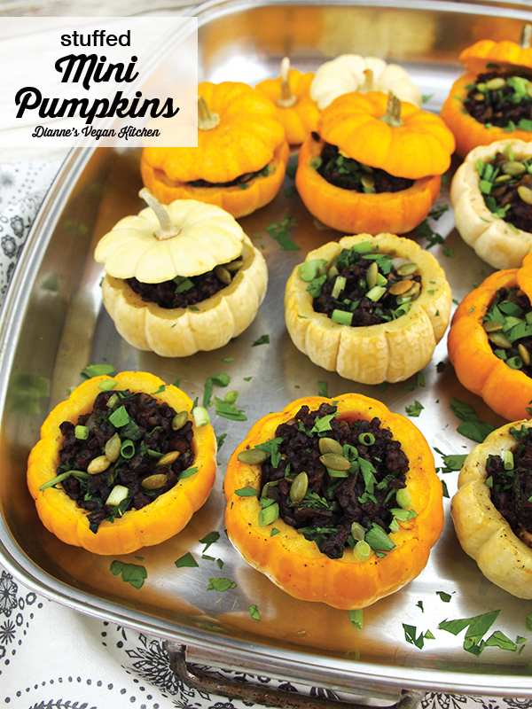 Vegan Stuffed Mini Pumpkins