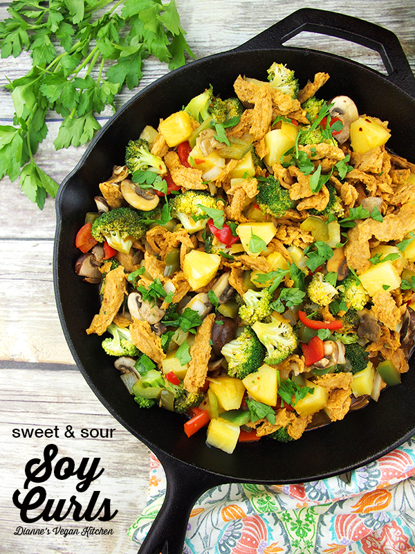Sweet and Sour Soy Curls from The Mindful Vegan by Lani Muelrath, vegan & gluten-free >> Dianne's Vegan Kitchen