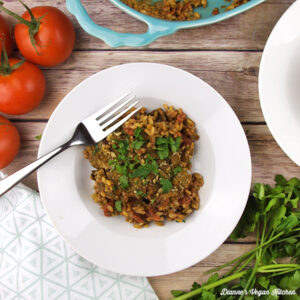 Baked Farro With Tomatoes and Herbs from Veganomicon, 10th Anniversary Edition by Isa Chandra Moskwitz