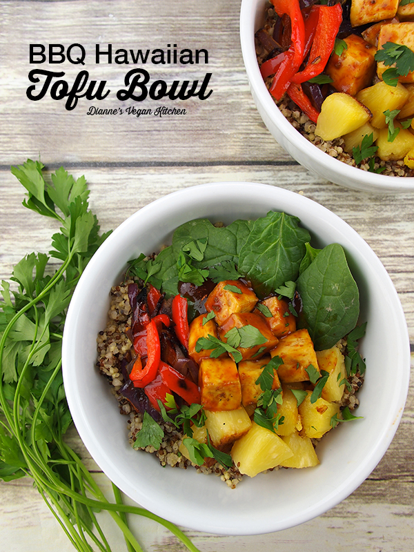 BBQ Tofu bowls with text overlay