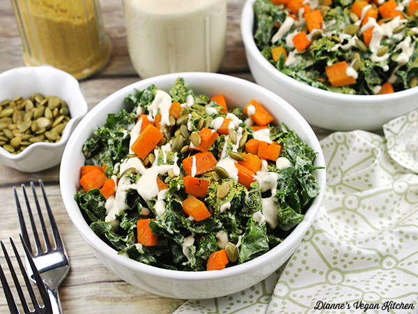 Vegan Kale Caesar Salad with Cider Carrots
