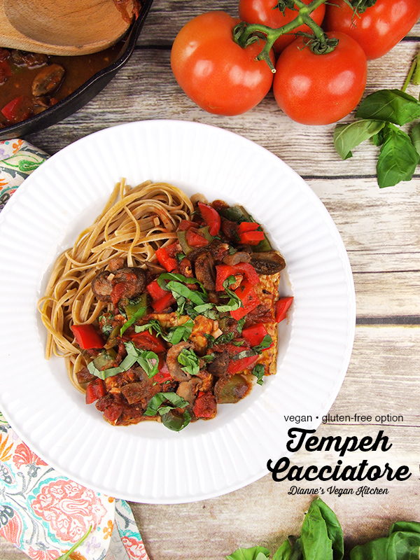 Plate of Vegan Tempeh Cacciatore with text overlay