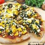 vegan breakfast pizza with text overlay