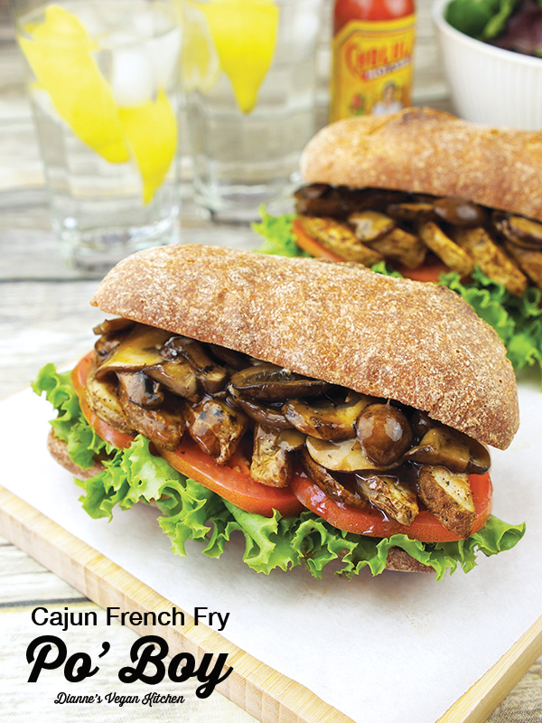 Air Fryer Vegan Po' Boy with text overlay