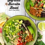 two burrito bowls with text overlay