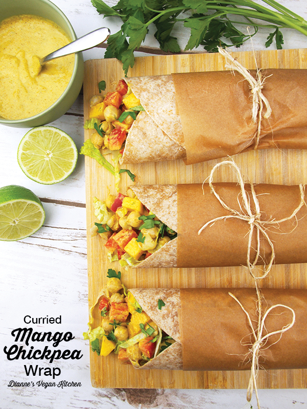 Vegan Curried Mango Chickpea Wraps with text overlay