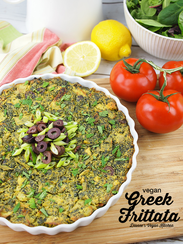Vegan Greek Frittata for Easter, Mother's Day, or any springtime brunch! (gluten-free, dairy-free, egg-free) >> Dianne's Vegan Kitchen