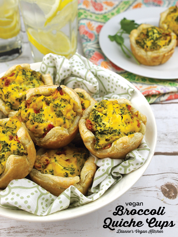 Vegan Broccoli Quiche Cups are a great appetizer for Easter Brunch, as well as Mother's Day. They're terrific for any type of springtime potluck or breakfast buffet, too!