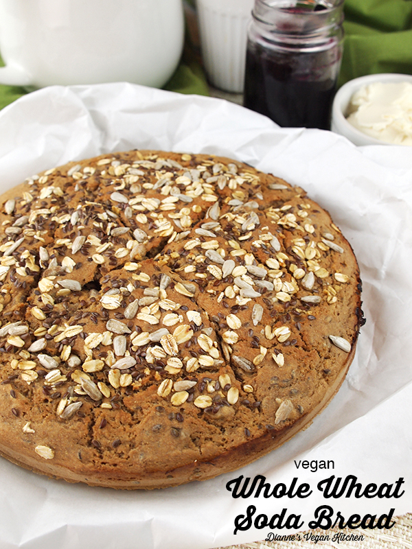 loaf of whole wheat soda bread with text overlay
