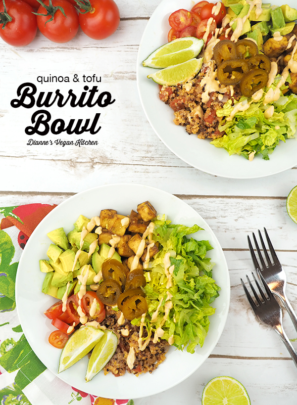 Vegan Burrito Bowl overhead with text overlay