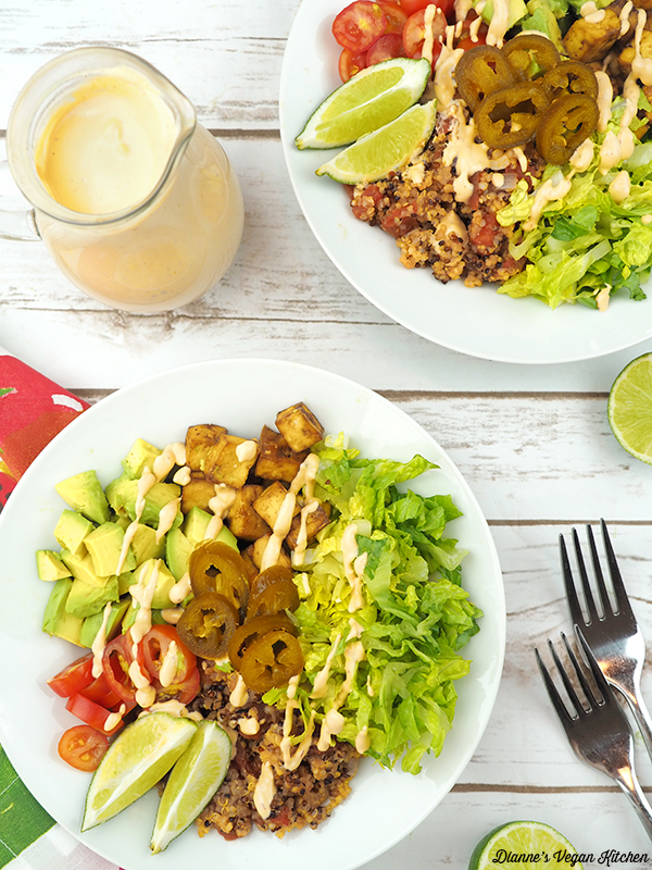 Quinoa and Tofu Burrito Bowl with Creamy Vegan Chipotle Lime Dressing