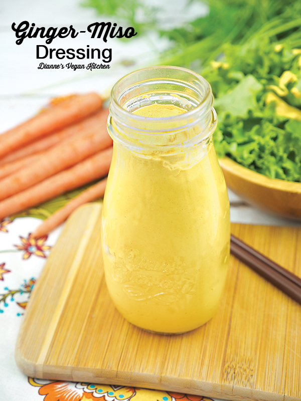 Vegan Ginger Miso Dressing in jar with text overlay