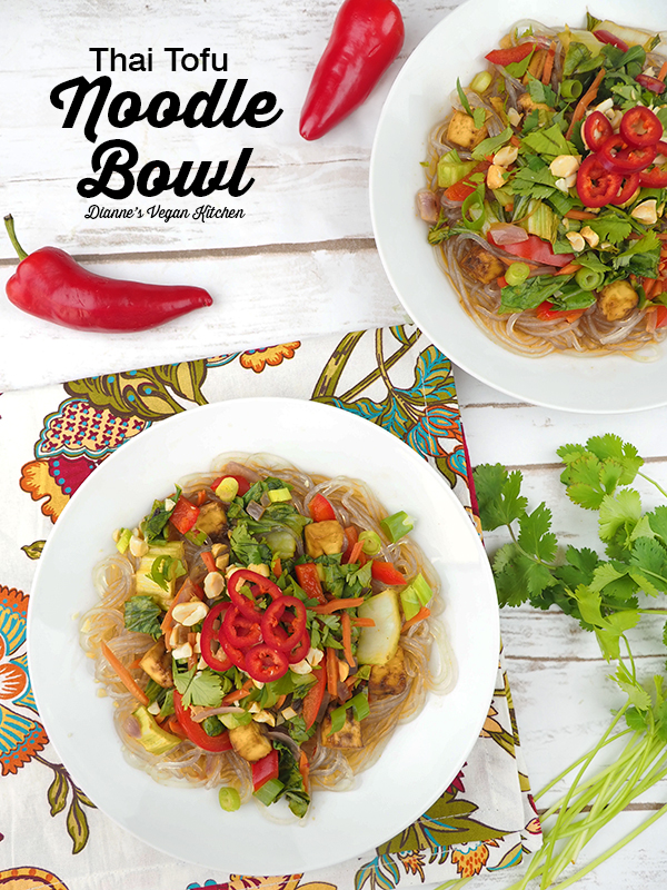 Thai Tofu Noodle Bowls overhead with text overlay