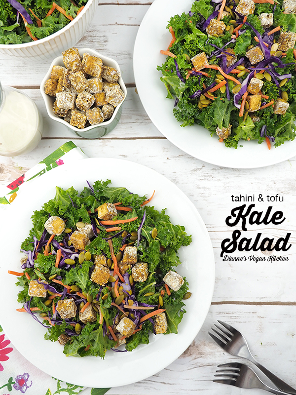 Tahini & Tofu Kale Salad with text overlay