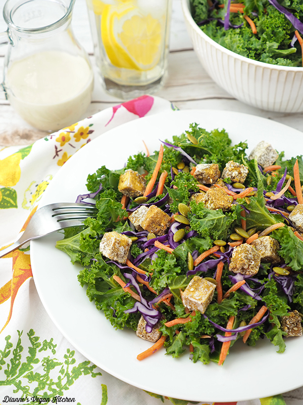 Tahini & Tofu Kale Salad close up