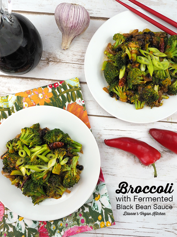 "Broccoli with Fermented Black Bean Sauce from The Wicked Healthy Cookbook by Chad Sarno, Derek Sarno, and David Joachim (vegan & gluten-free) ></noscript>> Dianne's Vegan Kitchen "" width=""600″ height=""800″></a>Broccoli with Fermented Black Bean Sauce from <em>The Wicked Healthy Cookbook </em>by Chad Sarno, Derek Sarno, and David Joachim comes together much more quickly than it would take to order takeout – and it tastes much better than takeout, too! This easy recipe is vegan with a gluten-free option.</p> <h2><a href="