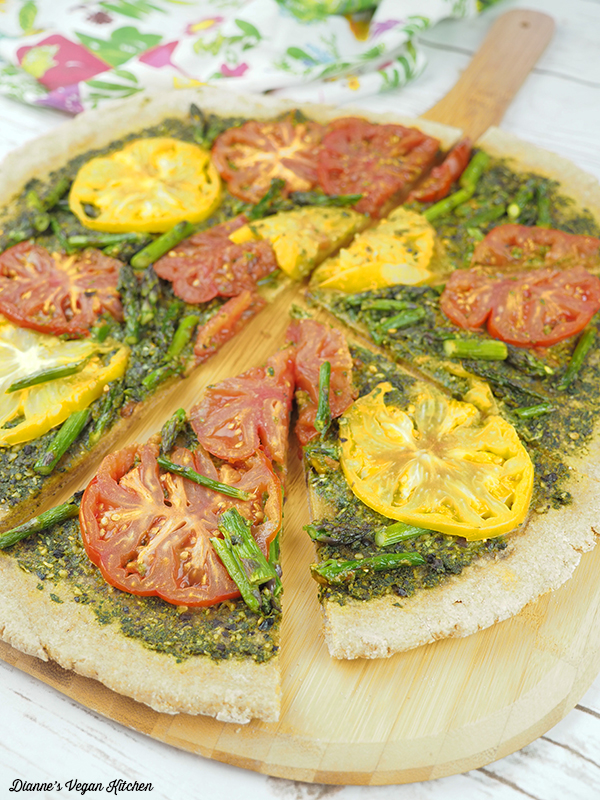 Grilled Pesto Tart on paddle