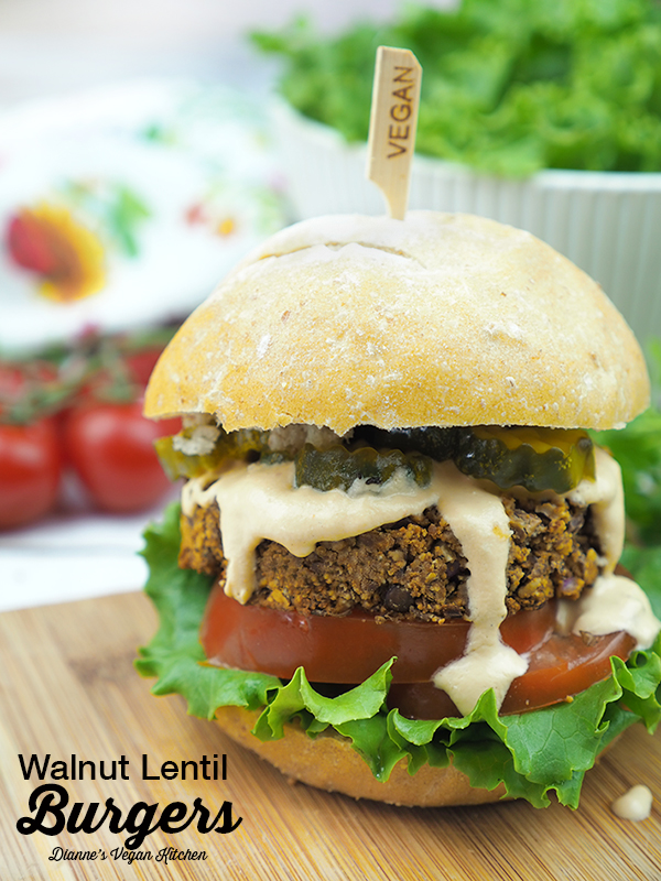 Walnut Lentil Burgers (vegan with gluten-free option) >> Dianne's Vegan Kitchen