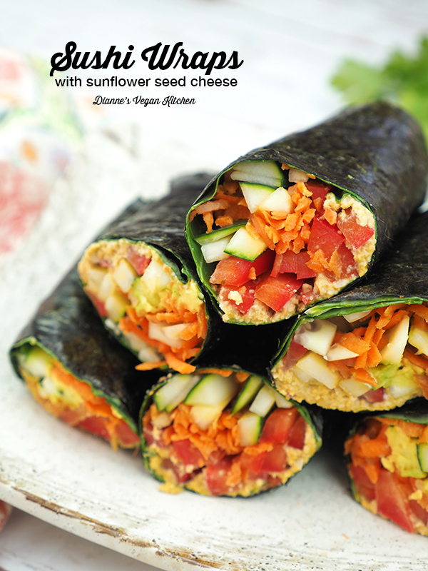 Raw Vegan Sushi Wraps with sunflower seed cheese (gluten-free & dairy-free) >> Dianne's Vegan Kitchen