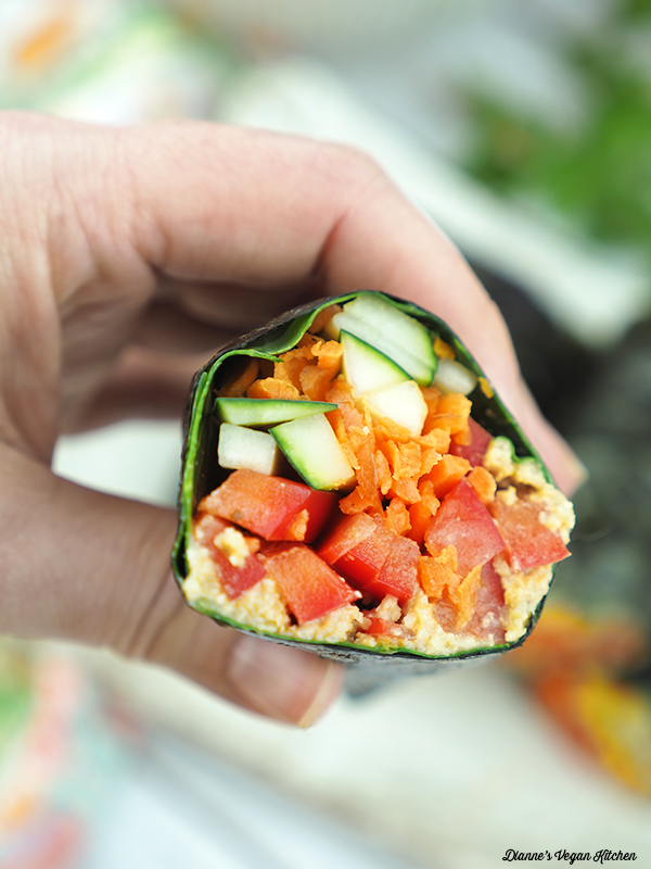 close up of Vegan Sushi Wraps in my hand