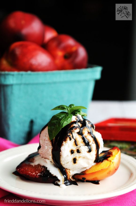 Grilled Nectarines with Balsamic Basil Reduction from Fried Dandelions