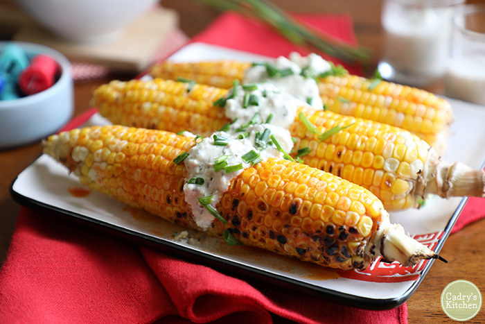 Buffalo corn on the cob with vegan blue cheese from Cadry's Kitchen